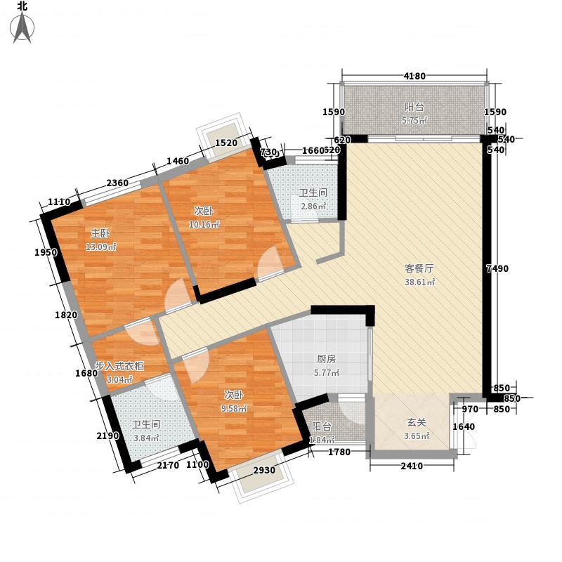金碧花园127.90㎡金碧花园户型图3-4L户型3室2厅2卫1厨户型3室2厅2卫1厨