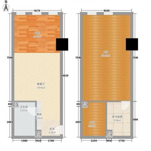 新建SOHO1厅1卫0厨80.67㎡户型图