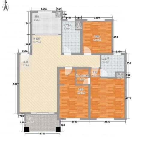 康兴园小区3室1厅2卫1厨102.47㎡户型图
