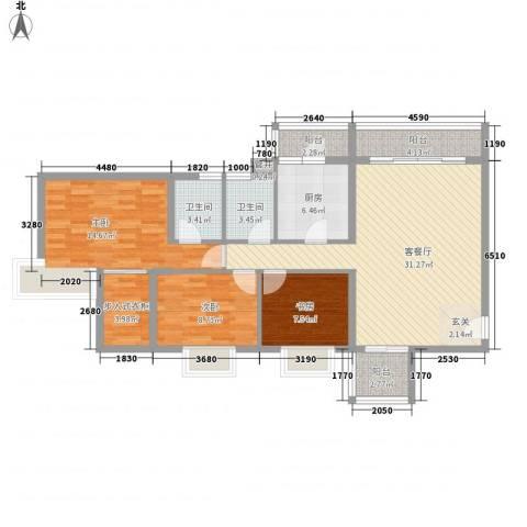 顺景半山豪苑3室1厅2卫1厨127.00㎡户型图