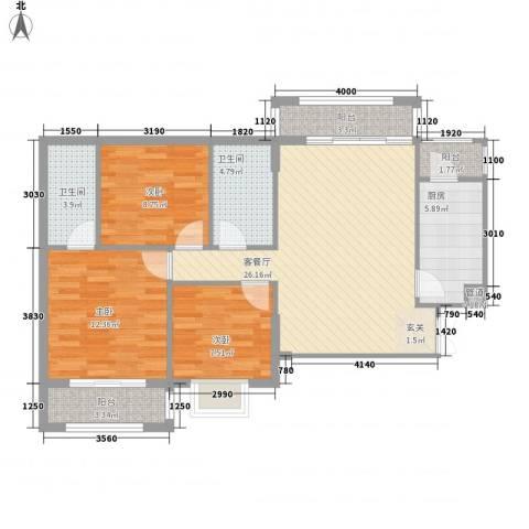 银城东方3室1厅2卫1厨77.95㎡户型图