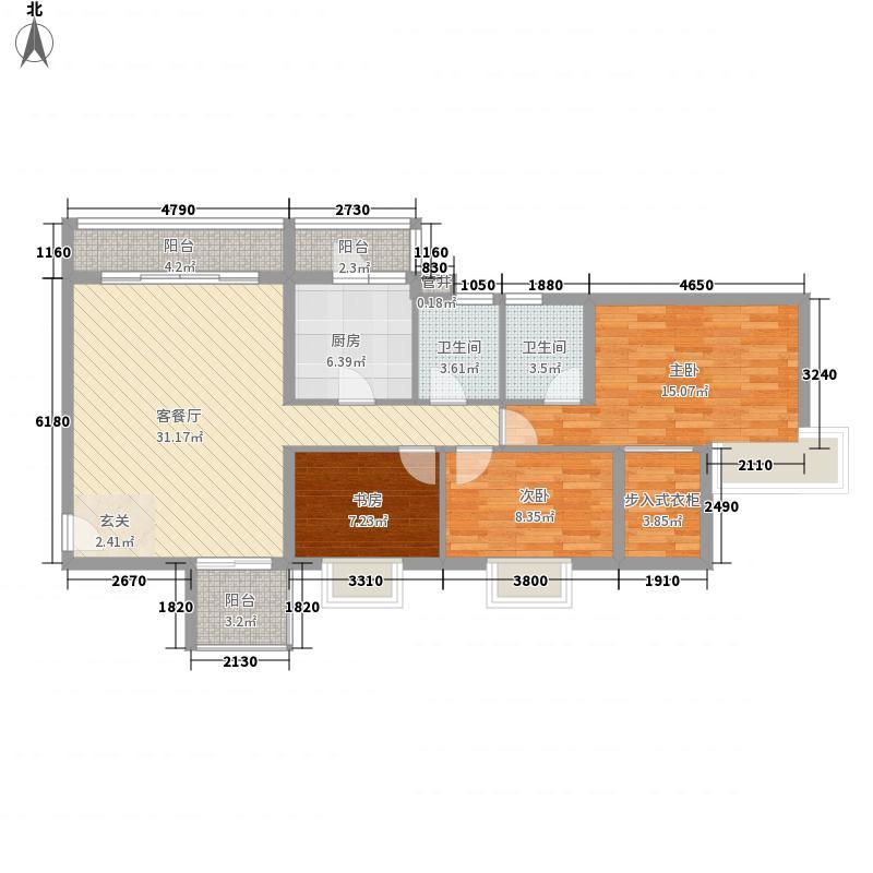 顺景半山豪苑127.00㎡三阳台户型3室2厅2卫1厨