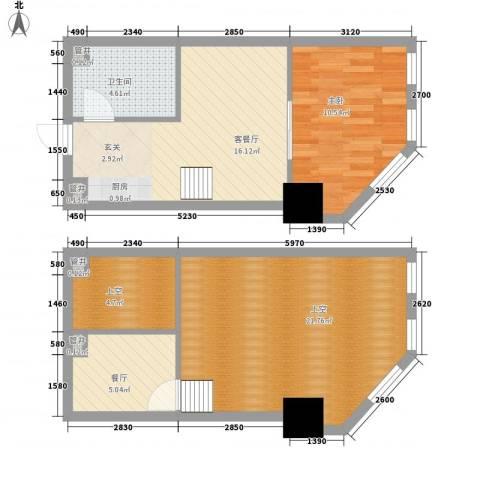 新建SOHO1室2厅1卫0厨63.25㎡户型图