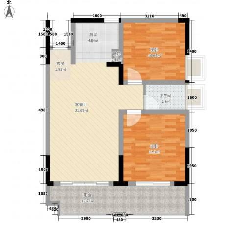 袭汇旺角名门2室1厅1卫0厨85.00㎡户型图