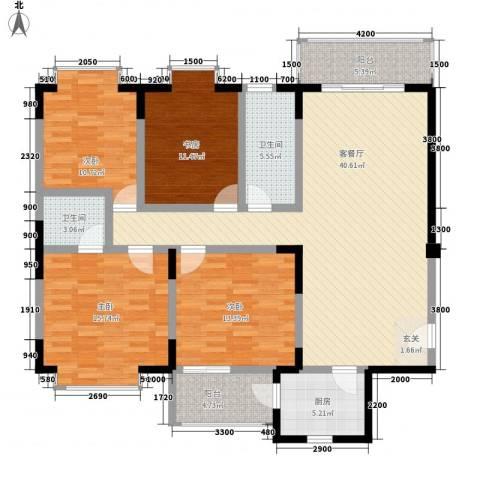 阳光公寓4室1厅2卫1厨166.00㎡户型图