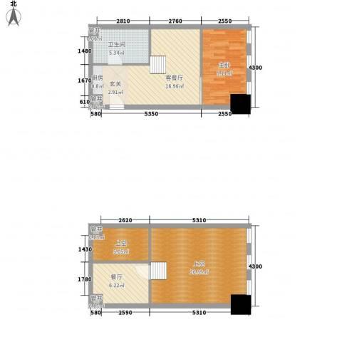 新建SOHO1室2厅1卫0厨91.00㎡户型图
