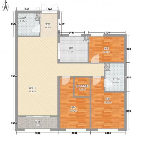 维多利大商城3室1厅2卫1厨89.78㎡户型图