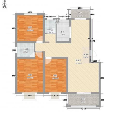金达华府3室1厅2卫1厨133.00㎡户型图