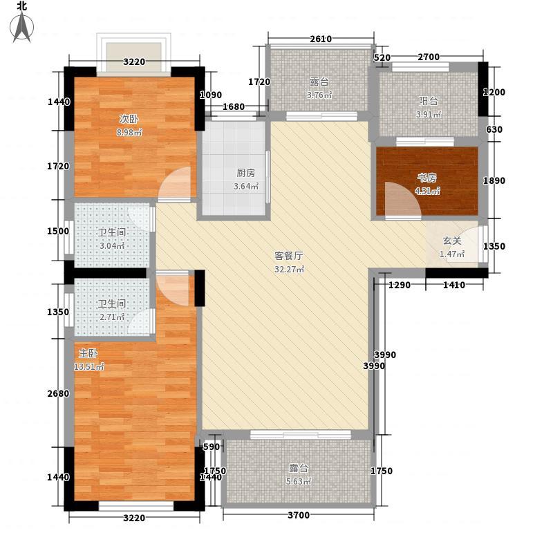 荆水首府116.00㎡7#8#10#11#楼D1户型3室2厅2卫1厨