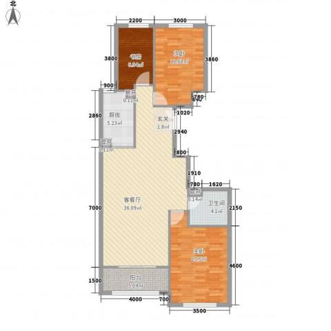 维多利大商城3室1厅1卫1厨85.34㎡户型图