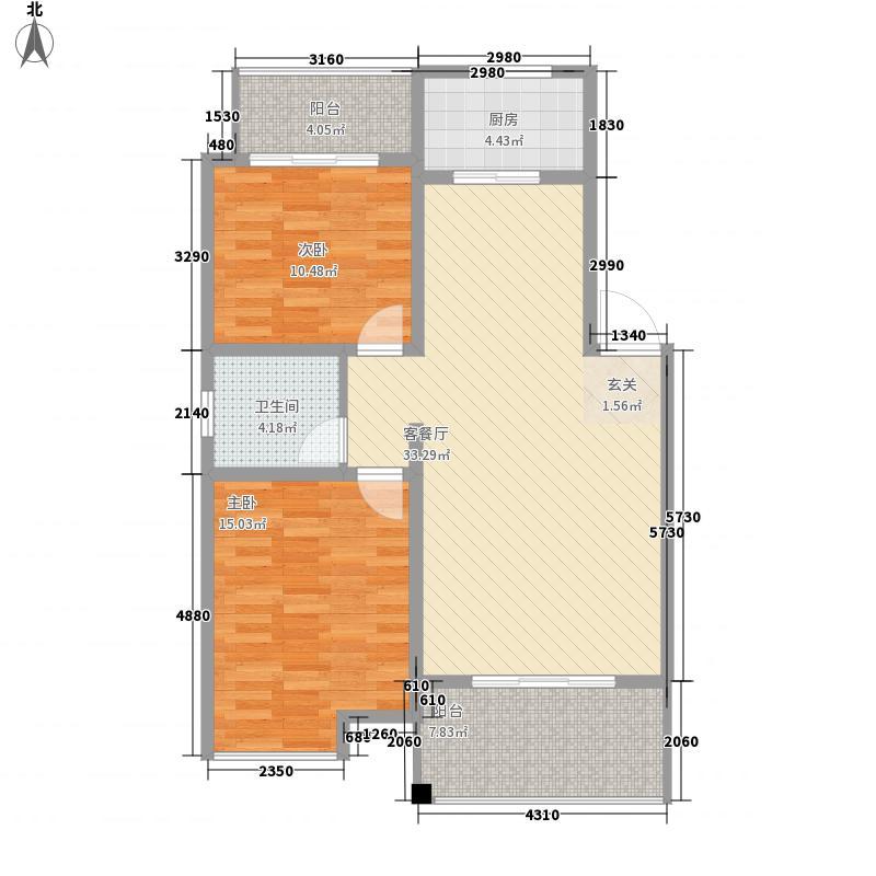 五矿尊城8.00㎡标准层A1户型2室1厅1卫1厨