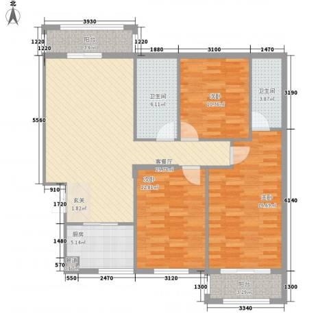 银城东方3室1厅2卫1厨128.00㎡户型图