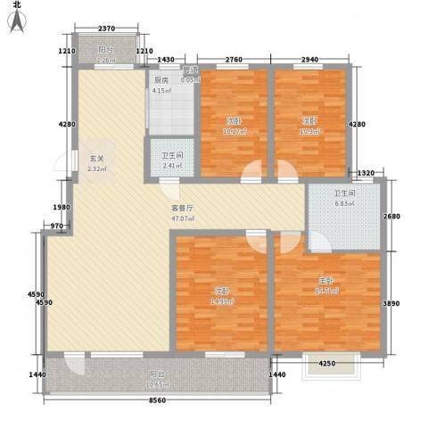 正大江南水乡4室1厅2卫1厨177.00㎡户型图