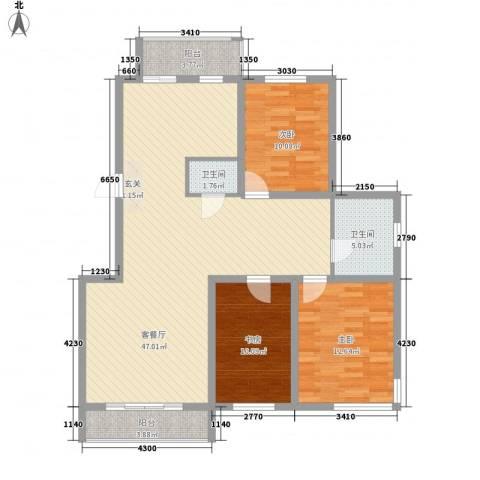 正大江南水乡3室1厅2卫0厨134.00㎡户型图