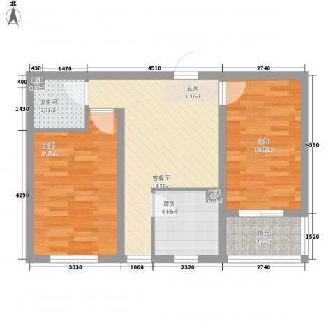 胜景茂园2室1厅1卫1厨71.00㎡户型图