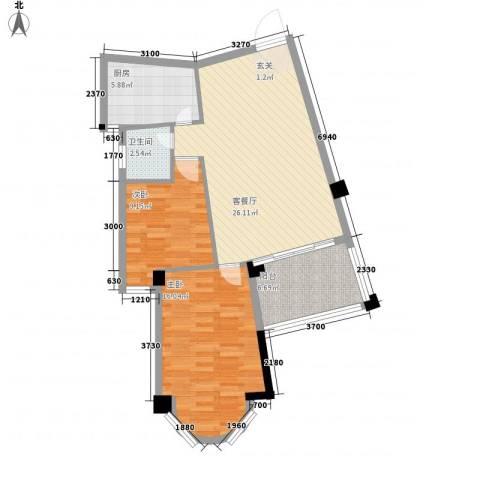 鼓浪湾2室1厅1卫1厨66.41㎡户型图
