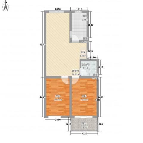 胜景茂园2室1厅1卫1厨86.00㎡户型图