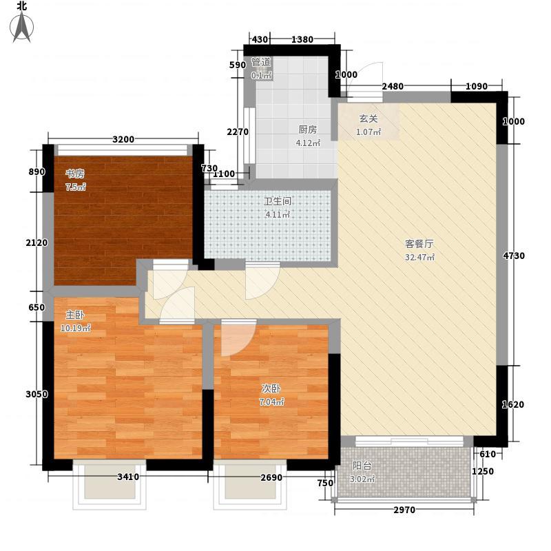 华丽家族太湖汇景3室1厅1卫0厨92.00㎡户型图