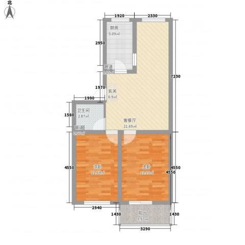 胜景茂园2室1厅1卫1厨84.00㎡户型图
