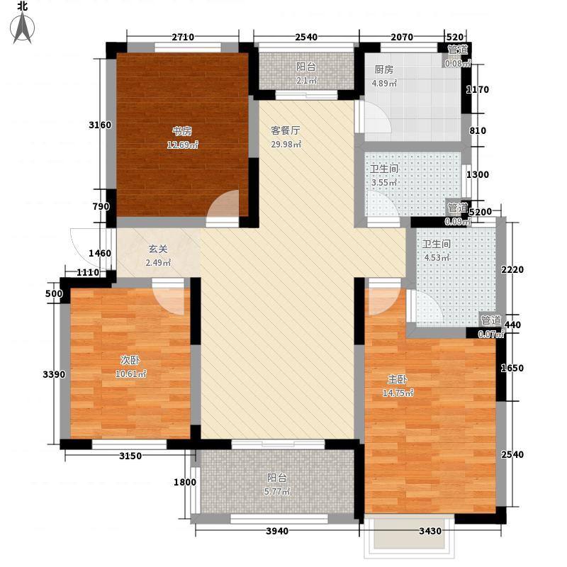 中筑蓝湾铭都3室1厅2卫1厨89.12㎡户型图