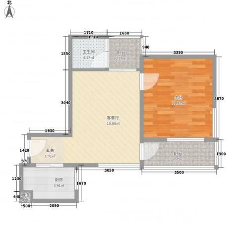 德丰花园1室1厅1卫1厨56.00㎡户型图