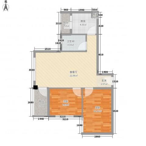 德丰花园2室1厅1卫1厨76.00㎡户型图