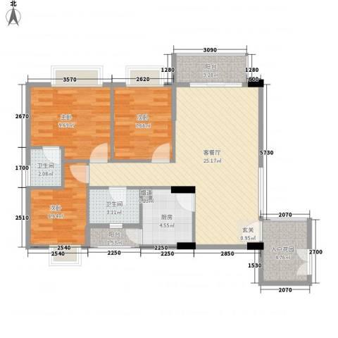 德丰花园3室1厅2卫1厨97.00㎡户型图
