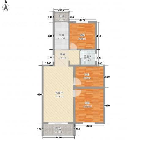 金东城雅居3室1厅1卫1厨96.00㎡户型图