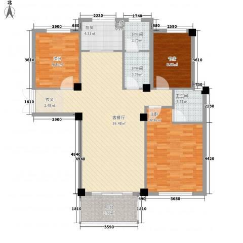 东方不夜城3室1厅3卫1厨100.80㎡户型图
