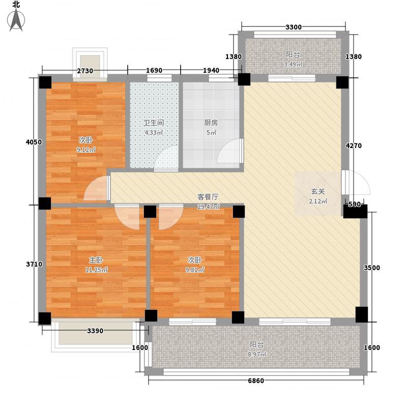 红都国际城3#楼C户型3室2厅2卫1厨