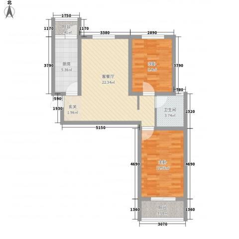 胜芳世纪花园2室1厅1卫1厨85.00㎡户型图