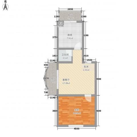 玉环花苑1室1厅1卫1厨66.00㎡户型图