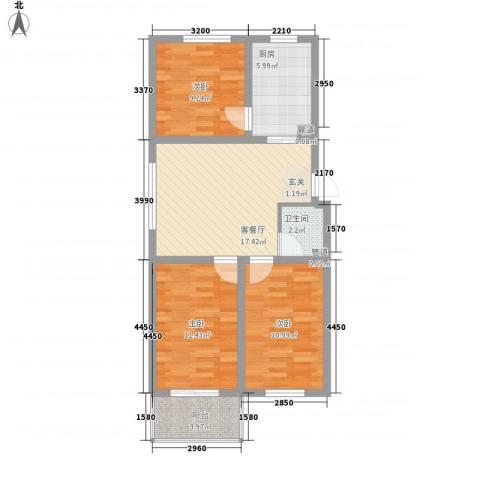 胜景茂园3室1厅1卫1厨89.00㎡户型图
