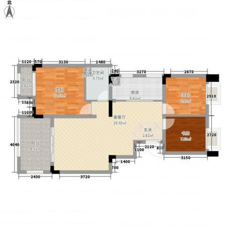 国贸仁皇3室1厅1卫1厨111.00㎡户型图