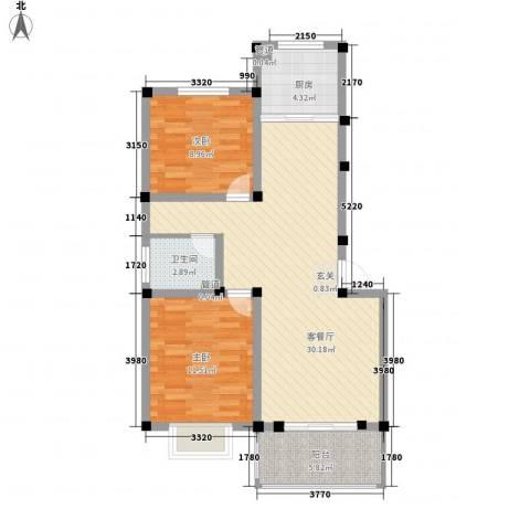 金达华府2室1厅1卫1厨63.76㎡户型图