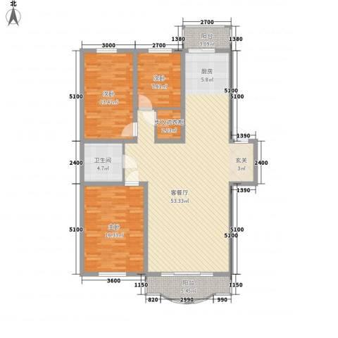玉环花苑3室1厅1卫0厨135.00㎡户型图