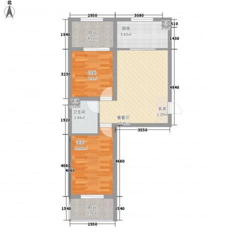 胜景茂园2室1厅1卫1厨79.00㎡户型图