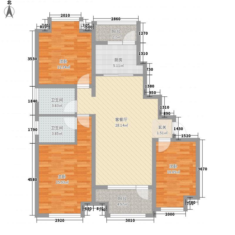 胜芳世纪花园124.83㎡1-6#楼A1户型