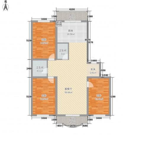 玉环花苑3室1厅2卫0厨140.00㎡户型图