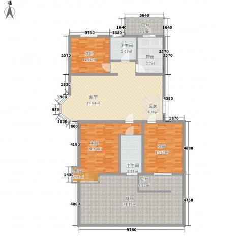 太阳城蓝山园3室1厅2卫1厨215.00㎡户型图