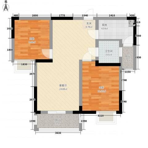 宋都西湖花苑2室1厅1卫1厨111.00㎡户型图