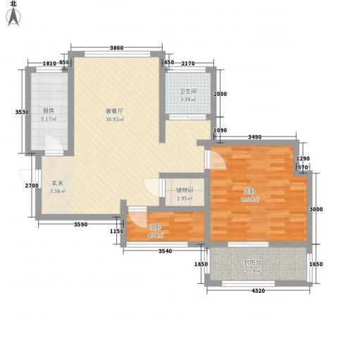 枫韵润园2室1厅1卫1厨80.00㎡户型图