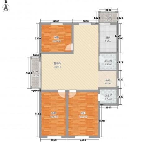 玉环花苑3室1厅2卫1厨153.00㎡户型图