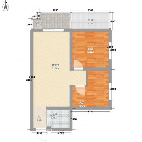 金源都市公寓2室1厅1卫1厨80.00㎡户型图
