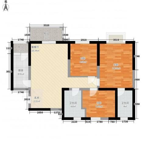 宋都西湖花苑3室1厅2卫1厨122.00㎡户型图