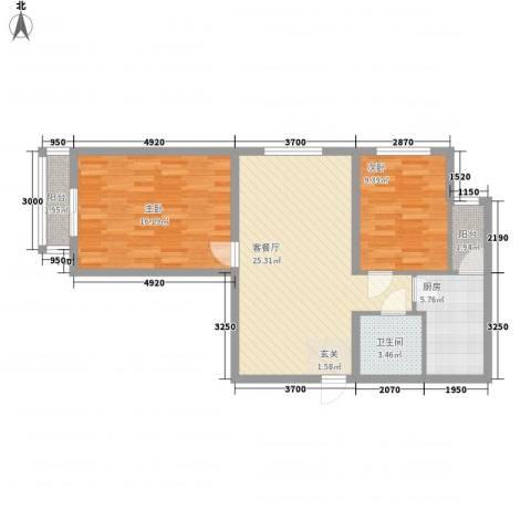 宋都西湖花苑2室1厅1卫1厨92.00㎡户型图