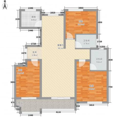 东方城3室1厅2卫1厨136.00㎡户型图