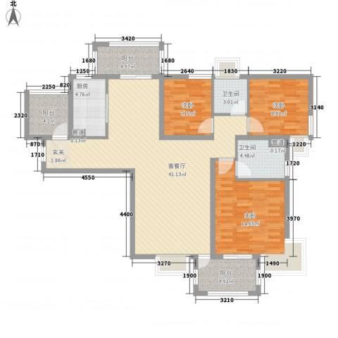 东明园3室1厅2卫1厨102.00㎡户型图