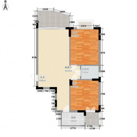 芳菲苑2室1厅1卫1厨96.00㎡户型图
