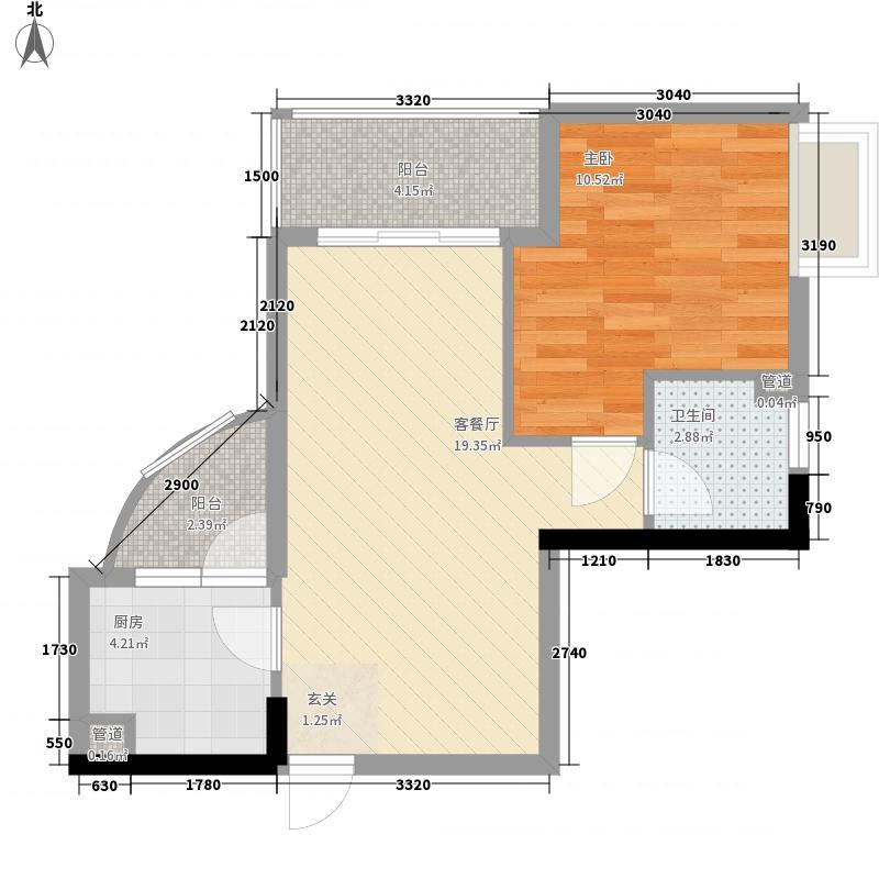 金湖公寓62.47㎡A(已售完)户型1室1厅1卫